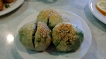 shrimp and cilantro dumpling with sesame seed