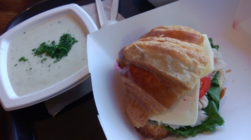 clam chowder and turkey-avocado sandwich