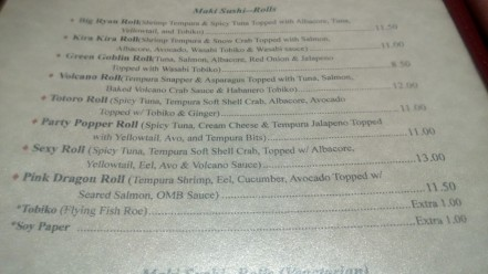 Crystal Fish menu