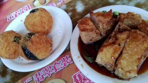 fried shrimp balls and fried tofu with shrimp