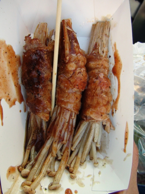 Enoki wrapped in beef