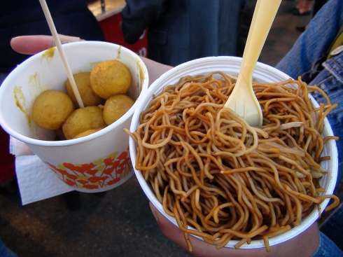 Fish Curry Balls and Chow Mein