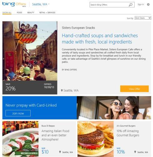 Bing Offers website