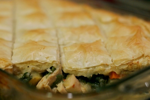 Turkey Pot Pie using phyllo dough