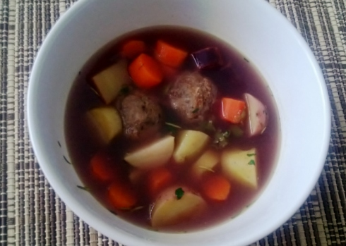 Vegetable and Meat Ball Soup